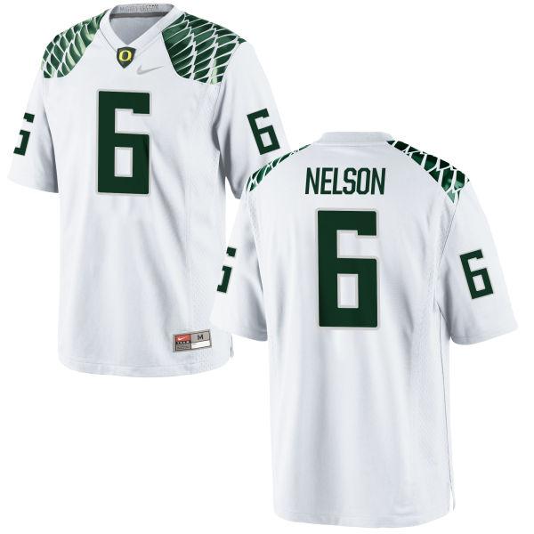 Men's Nike Charles Nelson Oregon Ducks Game White Football Jersey