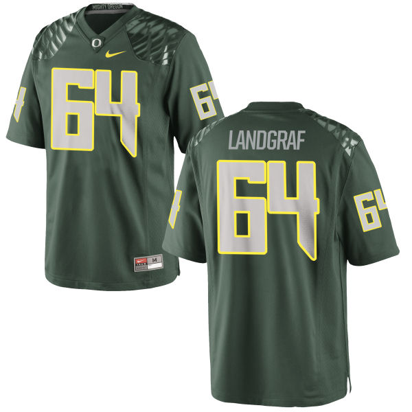 Men's Nike Charlie Landgraf Oregon Ducks Game Green Football Jersey