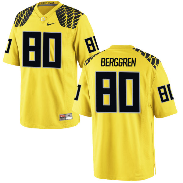 Men's Nike Connor Berggren Oregon Ducks Game Gold Football Jersey