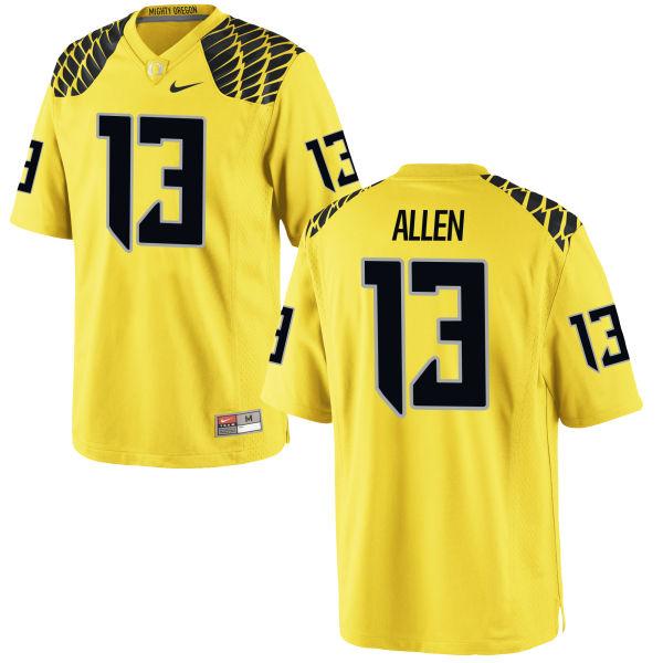 Men's Nike Devon Allen Oregon Ducks Authentic Gold Football Jersey