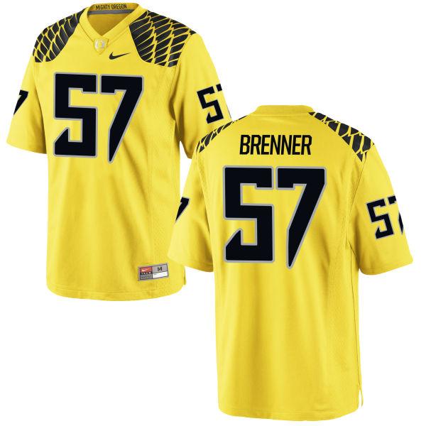 Men's Nike Doug Brenner Oregon Ducks Game Gold Football Jersey