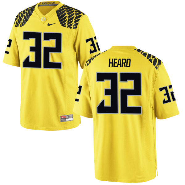 Men's Nike Eddie Heard Oregon Ducks Authentic Gold Football Jersey