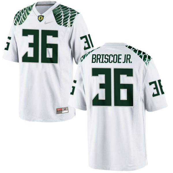 Men's Nike Eric Briscoe Jr. Oregon Ducks Game White Football Jersey