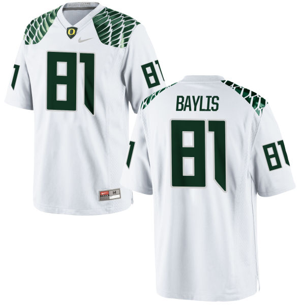 Men's Nike Evan Baylis Oregon Ducks Game White Football Jersey
