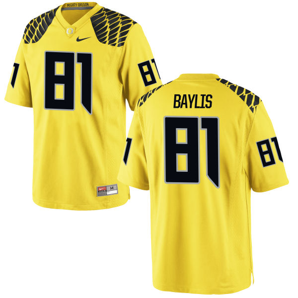 Men's Nike Evan Baylis Oregon Ducks Game Gold Football Jersey