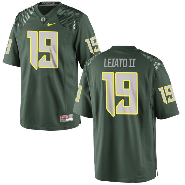 Men's Nike Fotu T. Leiato II Oregon Ducks Game Green Football Jersey