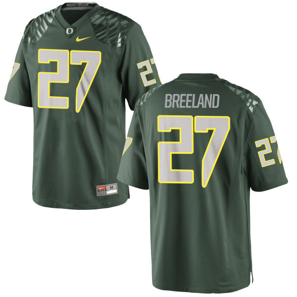 Men's Nike Jacob Breeland Oregon Ducks Game Green Football Jersey
