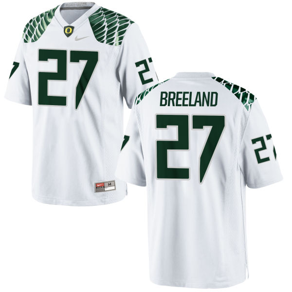 Men's Nike Jacob Breeland Oregon Ducks Game White Football Jersey