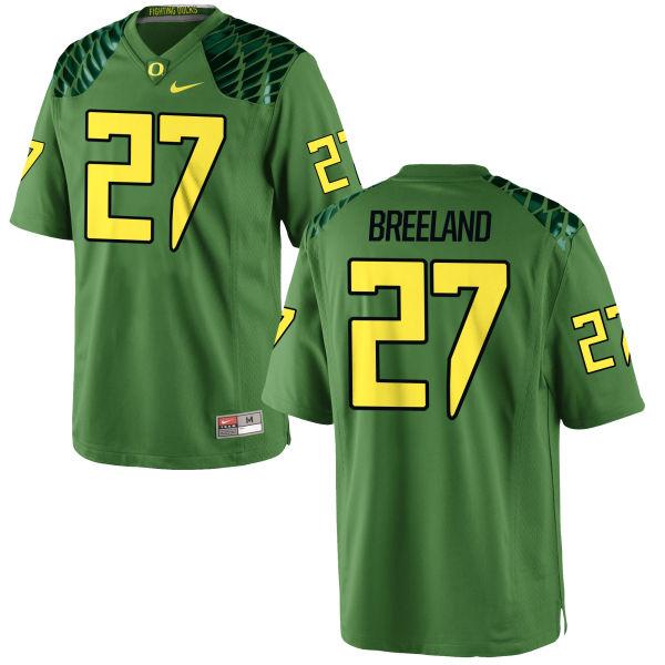 Men's Nike Jacob Breeland Oregon Ducks Game Green Alternate Football Jersey Apple