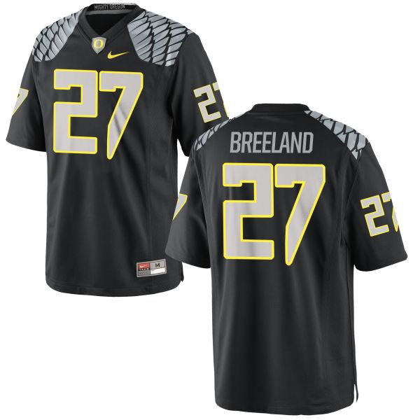 Men's Nike Jacob Breeland Oregon Ducks Game Black Jersey
