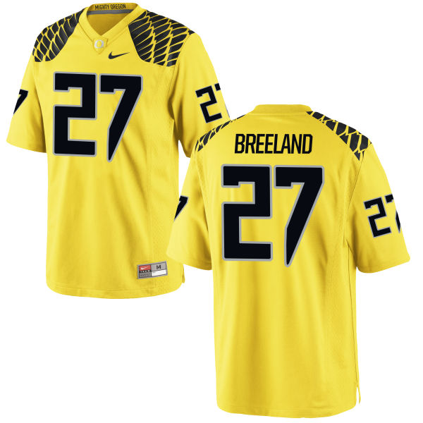 Men's Nike Jacob Breeland Oregon Ducks Game Gold Football Jersey