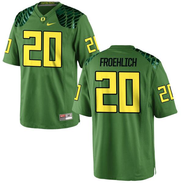 Men's Nike Jake Froehlich Oregon Ducks Game Green Alternate Football Jersey Apple