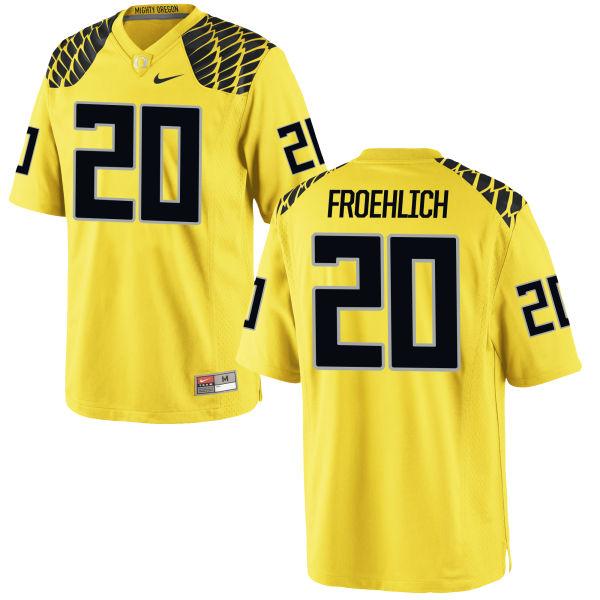 Men's Nike Jake Froehlich Oregon Ducks Game Gold Football Jersey