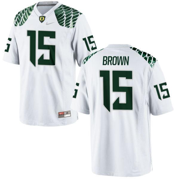 Men's Nike Jalen Brown Oregon Ducks Replica White Football Jersey