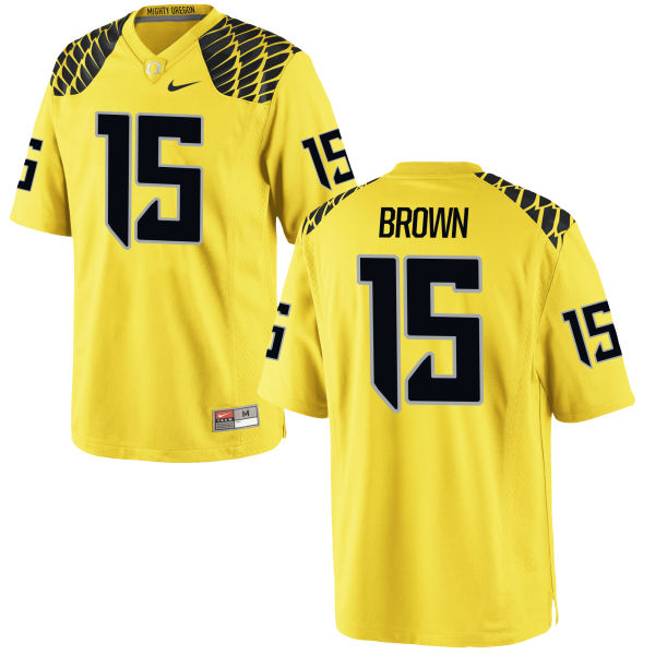 Men's Nike Jalen Brown Oregon Ducks Replica Gold Football Jersey