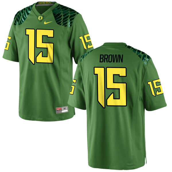 Men's Nike Jalen Brown Oregon Ducks Authentic Green Alternate Football Jersey Apple