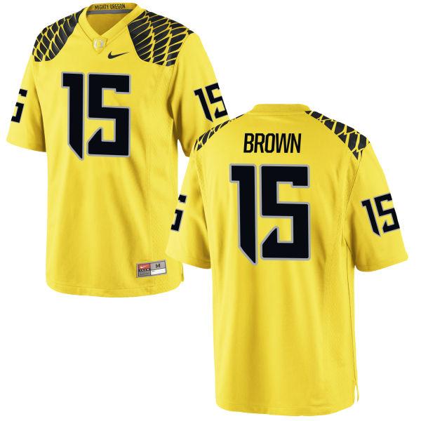 Men's Nike Jalen Brown Oregon Ducks Authentic Gold Football Jersey