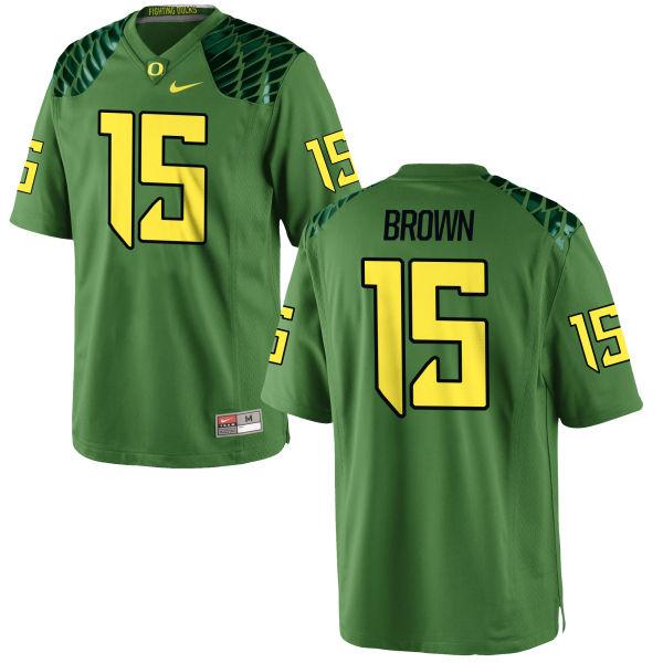 Men's Nike Jalen Brown Oregon Ducks Game Green Alternate Football Jersey Apple