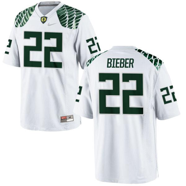 Men's Nike Jeff Bieber Oregon Ducks Replica White Football Jersey