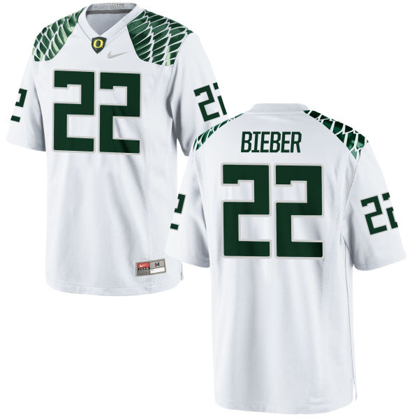Men's Nike Jeff Bieber Oregon Ducks Game White Football Jersey