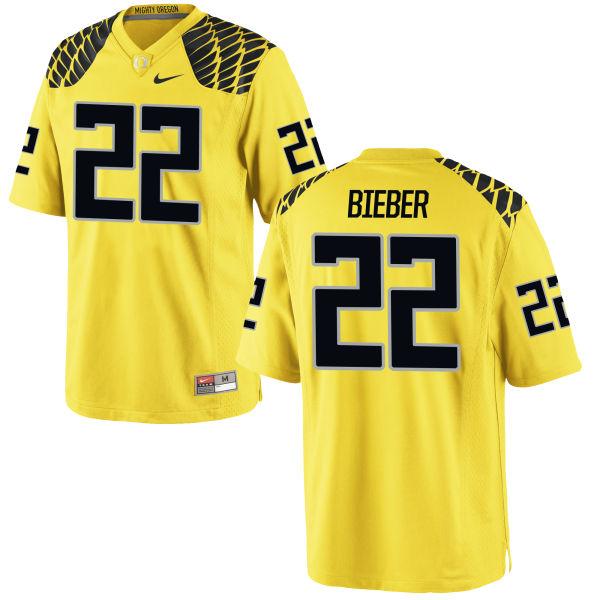 Men's Nike Jeff Bieber Oregon Ducks Game Gold Football Jersey