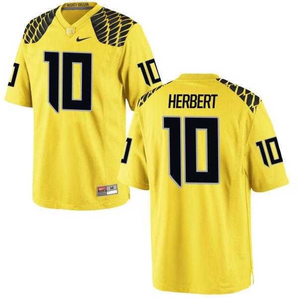 Men's Nike Justin Herbert Oregon Ducks Game Gold Football Jersey