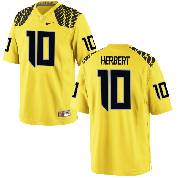 Men's Nike Justin Herbert Oregon Ducks Limited Gold Football Jersey