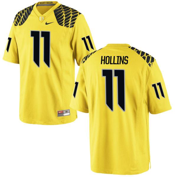 Men's Nike Justin Hollins Oregon Ducks Authentic Gold Football Jersey