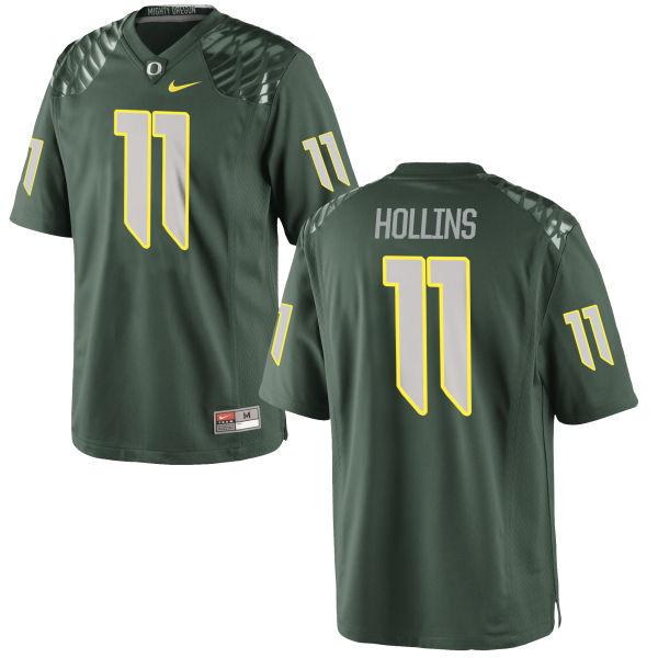 Men's Nike Justin Hollins Oregon Ducks Game Green Football Jersey