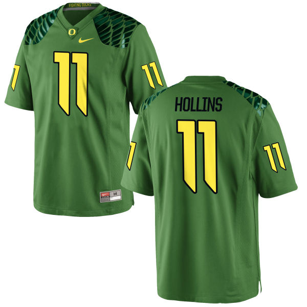 Men's Nike Justin Hollins Oregon Ducks Game Green Alternate Football Jersey Apple