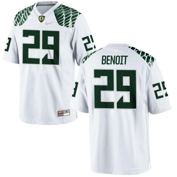 Men's Nike Kani Benoit Oregon Ducks Game White Football Jersey