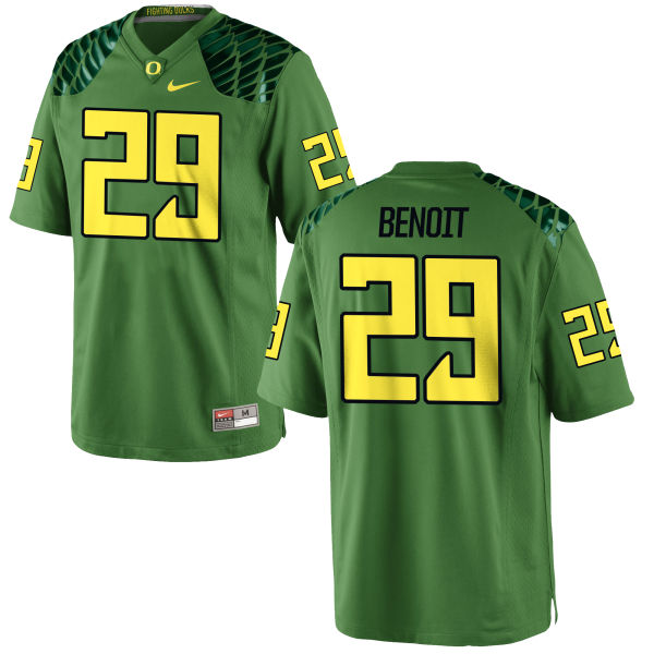Men's Nike Kani Benoit Oregon Ducks Game Green Alternate Football Jersey Apple