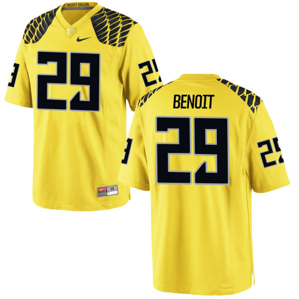 Men's Nike Kani Benoit Oregon Ducks Game Gold Football Jersey