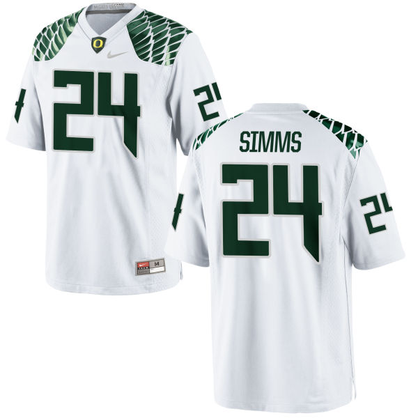 Men's Nike Keith Simms Oregon Ducks Game White Football Jersey