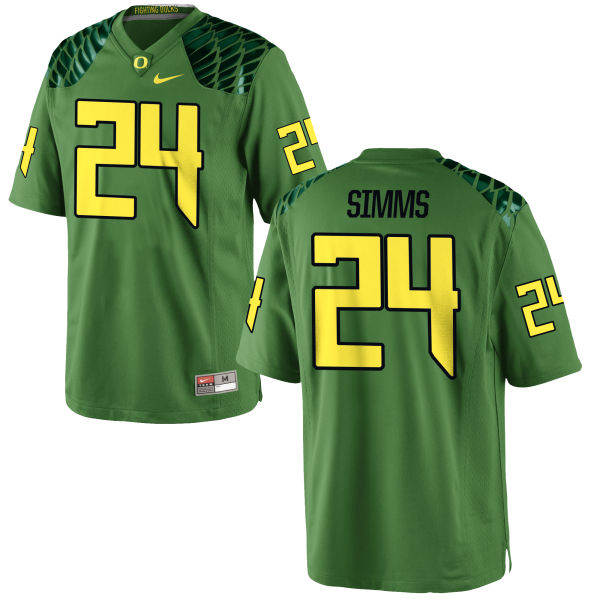 Men's Nike Keith Simms Oregon Ducks Game Green Alternate Football Jersey Apple