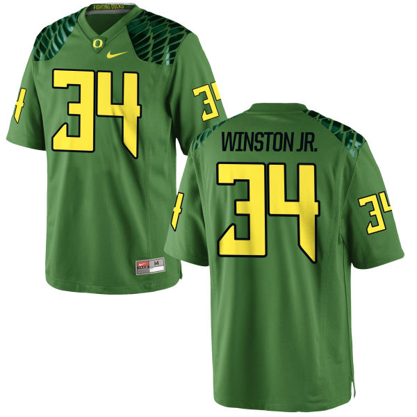 Men's Nike La'Mar Winston Jr. Oregon Ducks Game Green Alternate Football Jersey Apple