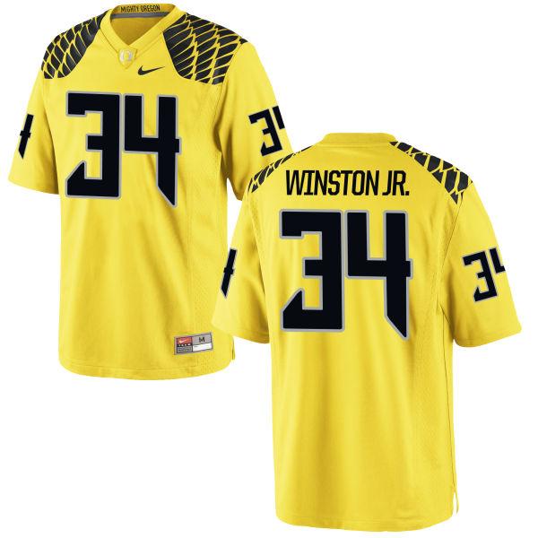 Men's Nike La'Mar Winston Jr. Oregon Ducks Game Gold Football Jersey