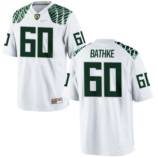 Men's Nike Logan Bathke Oregon Ducks Replica White Football Jersey