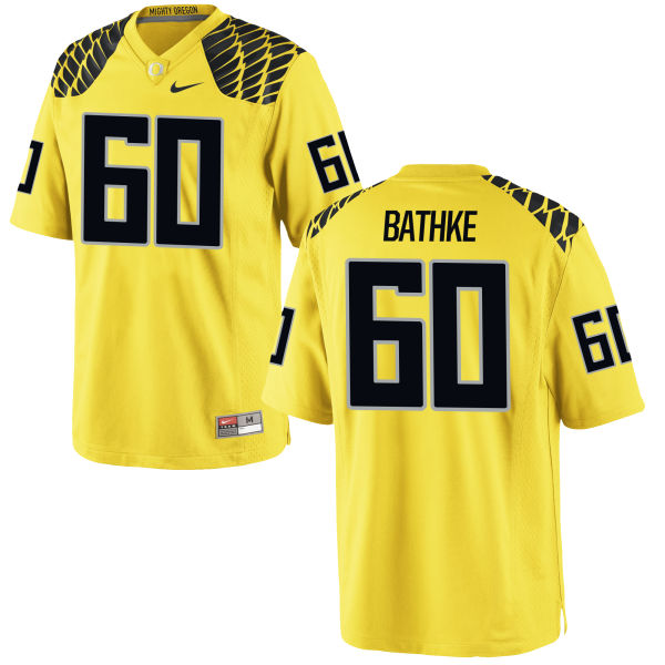 Men's Nike Logan Bathke Oregon Ducks Game Gold Football Jersey
