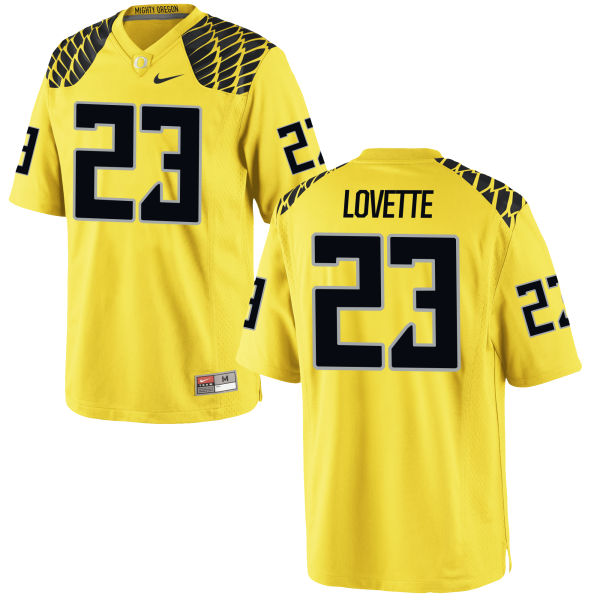 Men's Nike Malik Lovette Oregon Ducks Authentic Gold Football Jersey