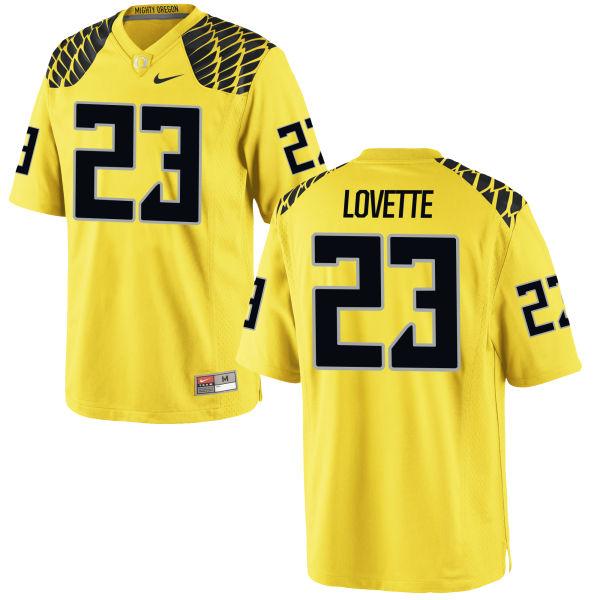 Men's Nike Malik Lovette Oregon Ducks Game Gold Football Jersey