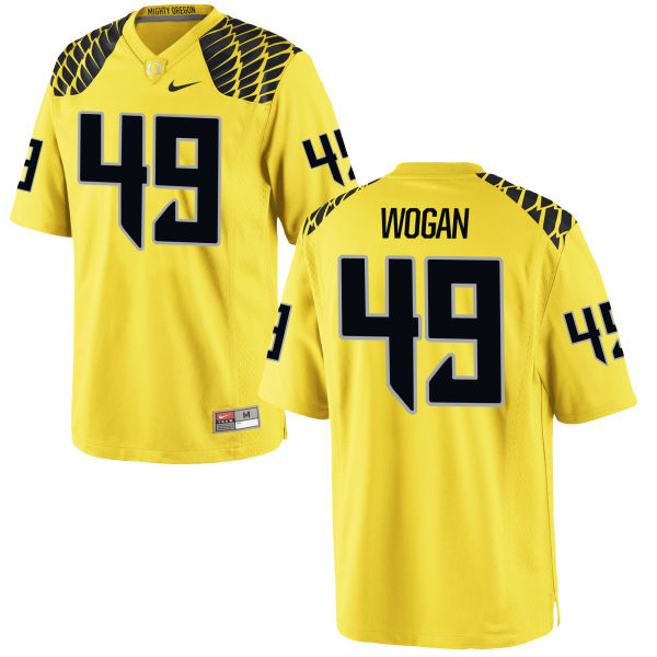 Women's Nike Matt Wogan Oregon Ducks Game Gold Football Jersey