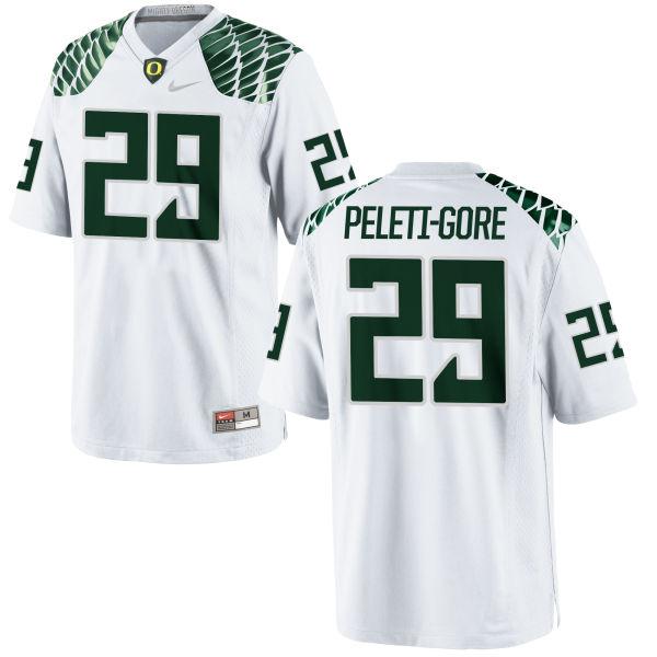 Men's Nike Pou Peleti-Gore Oregon Ducks Replica White Football Jersey