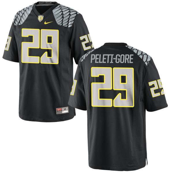 Men's Nike Pou Peleti-Gore Oregon Ducks Replica Black Jersey