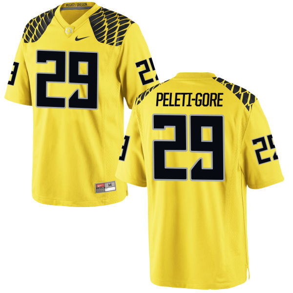 Men's Nike Pou Peleti-Gore Oregon Ducks Limited Gold Football Jersey