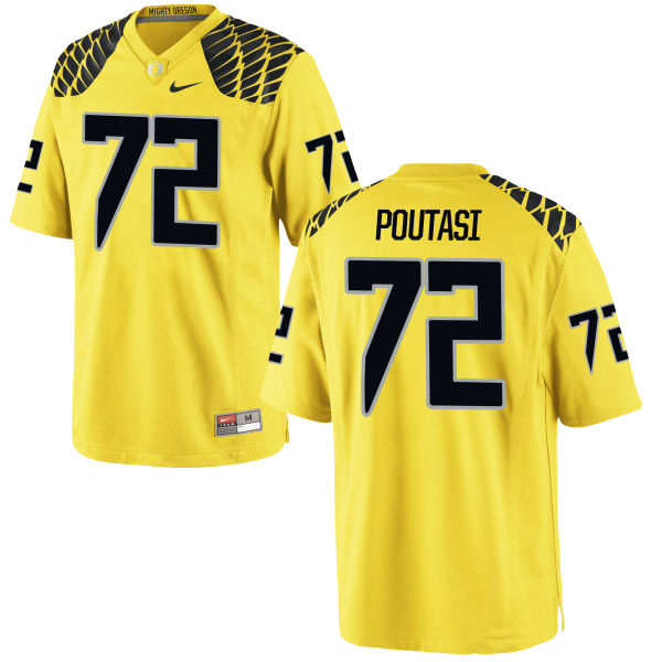 Men's Nike Sam Poutasi Oregon Ducks Game Gold Football Jersey