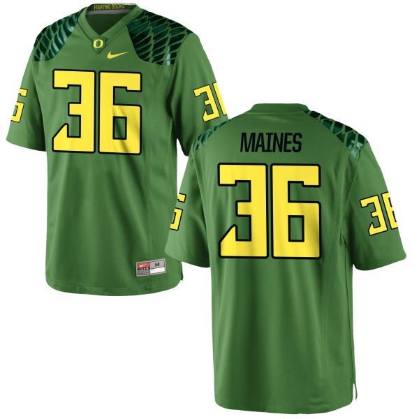 Men's Nike Steve Maines Oregon Ducks Game Green Alternate Football Jersey Apple