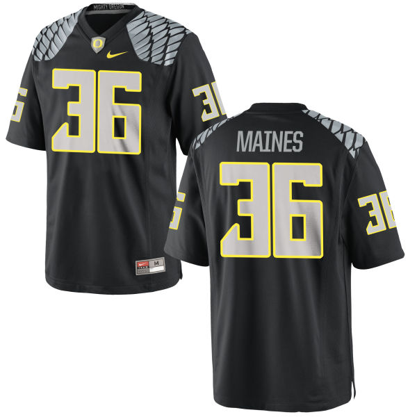 Men's Nike Steve Maines Oregon Ducks Game Black Jersey