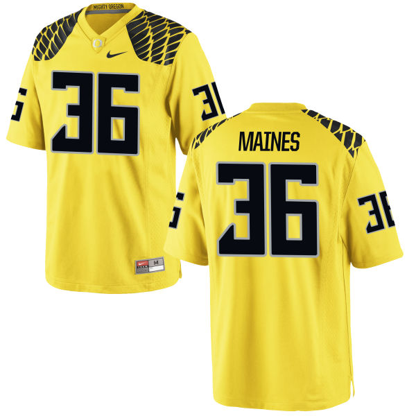 Men's Nike Steve Maines Oregon Ducks Game Gold Football Jersey