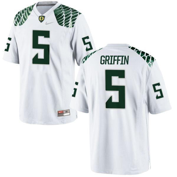Men's Nike Taj Griffin Oregon Ducks Game White Football Jersey